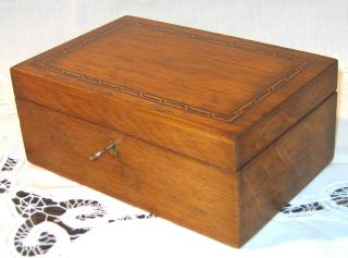 Oak and Marquetry Sewing Box.