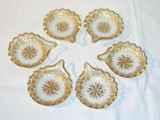 Six Gilted and Cutted Glass Austrian Empire Dishes.