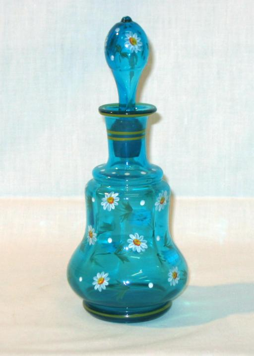 Biedermeier Blue Glas and Enamel Bottle.
