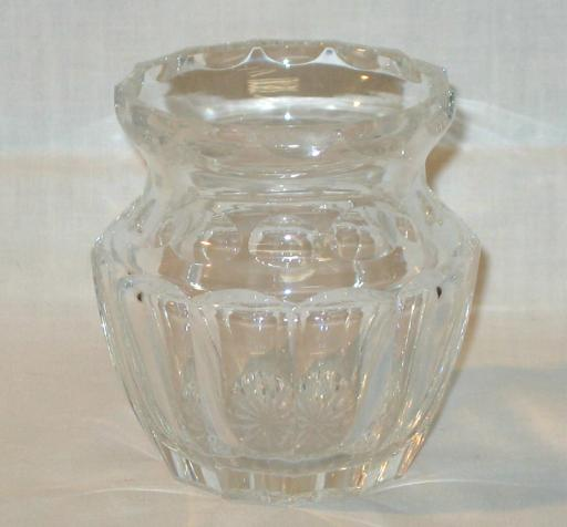 Small Round Faceted Clear Glass Vase.