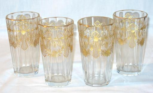 Gilted and Cutted Glass Water Glasses.