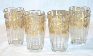 Gilded and Cut Glass Water Glasses.