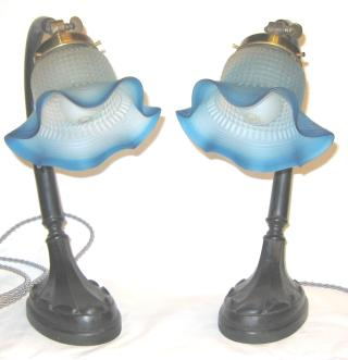Pair of wooden Bed Side lamps.