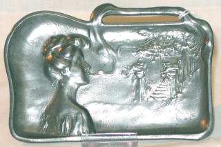 Art Nouveau Pewter Tray with Lady