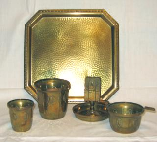 Jugendstil Brass Smoker's Set.