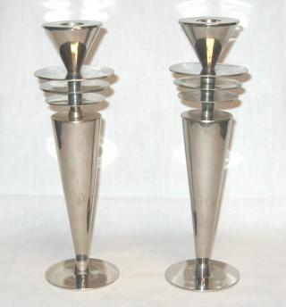 Pair of Art Deco Candle-Holders.