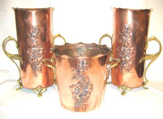 Art Nouveau Copper and Brass Vases WMF