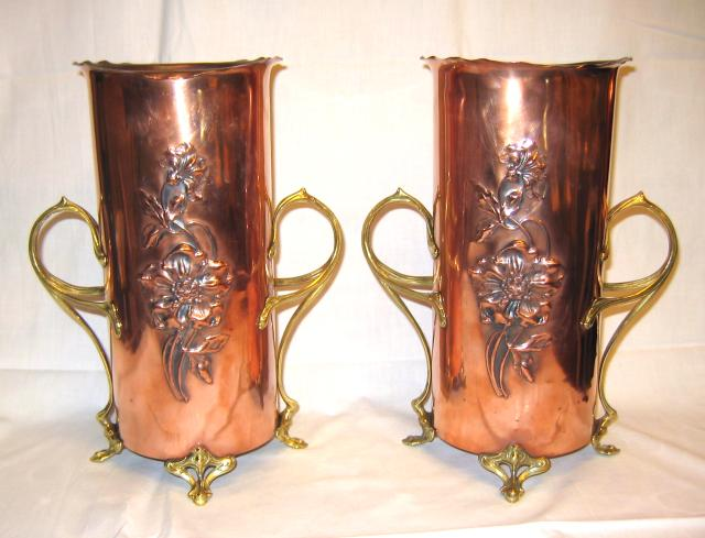 Copper and Brass Vases Set by WMF