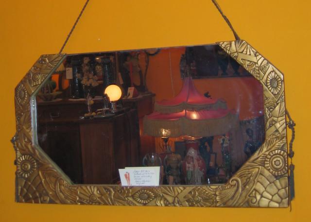 """Art Deco gilded """"Gesso"""" Mirror."""