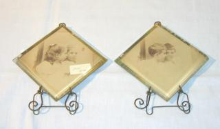 Pair of Glass and Brass Pictures Frames.